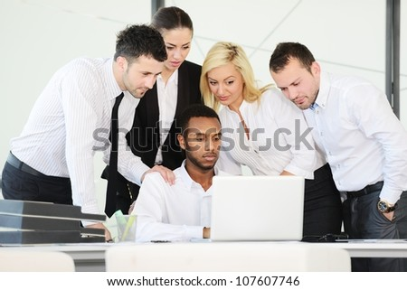 Successful business people having discussion at office