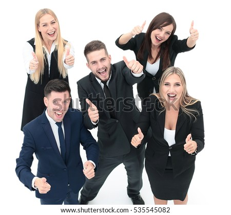 Successful business people looking happy and confident. Showing