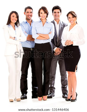 Successful business people looking happy - isolated over white - stock photo