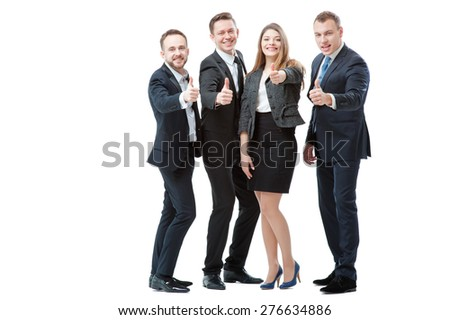 Successful business team. Full length of group of confident business people showing thumbs up standing close to each other and smiling. Isolated on white. - stock photo
