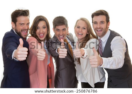 successful business team group with thumbs up - stock photo
