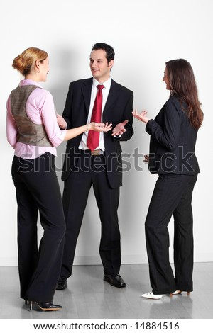 successful business team is talking - stock photo