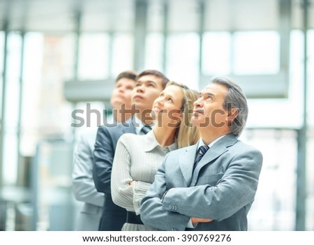 successful business team - leader. the photo on the background o - stock photo