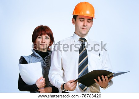 Successful business team of two young people. Posing - stock photo
