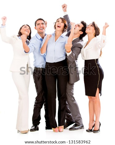 Successful business team with arms up - isolated over white - stock photo