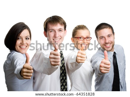 Successful business team with thumbs up - isolated over a white background