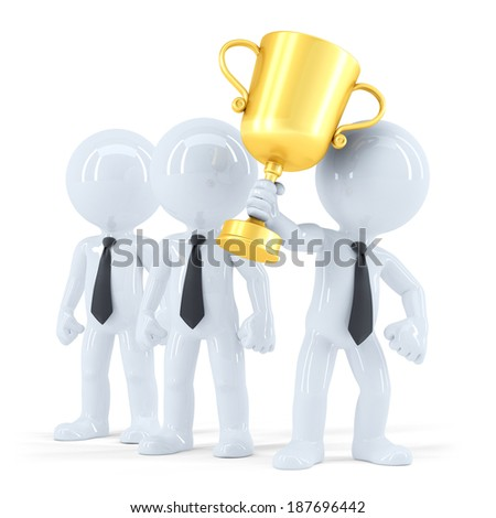 Successful business team with trophy. Business concept. Isolated. - stock photo