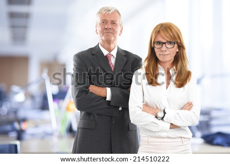 Successful business woman and businessman portrait. Sales team. - stock photo