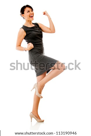 Successful business woman celebrating - isolated over a white background - stock photo