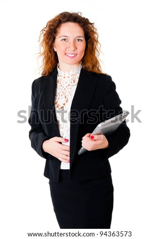 Successful business woman holding tablet pc portrait. Isolated over white background