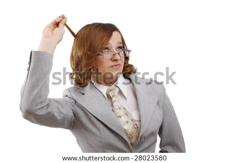 Successful business woman is thinking about something. Beautiful girl wear glasses. Business lady. Isolated over white background. - stock photo