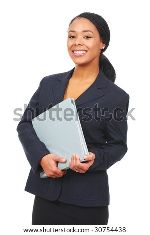 Successful business woman. Isolated over white background - stock photo