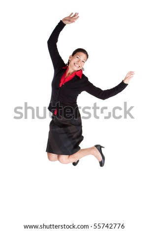 Successful business woman leaping high in the air, motion blur on foot - stock photo