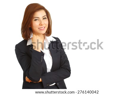 Successful business woman looking confident and smiling, white isolated background - stock photo