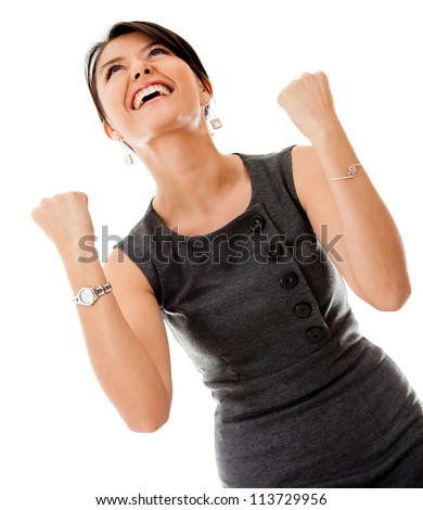 Successful business woman looking very excited - isolated over a white background - stock photo