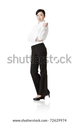 Successful business woman of Asian, full length portrait isolated on white. - stock photo
