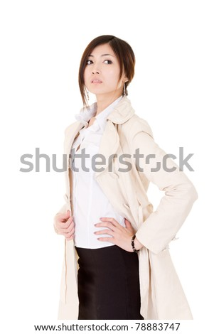 Successful business woman of Asian, half length closeup portrait on white background. - stock photo