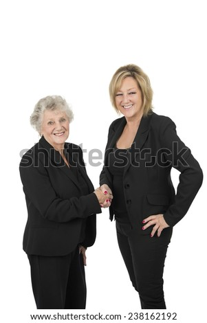 Successful business woman shaking hands against a white background - stock photo