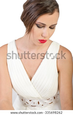 Successful business woman wear white dress at work - stock photo