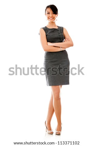 Successful business woman with arms crossed - isolated over a white background - stock photo