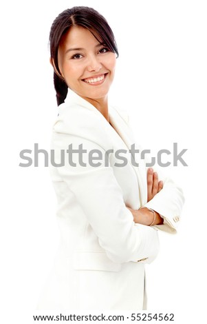 Successful business woman with arms crossed - isolated over white - stock photo