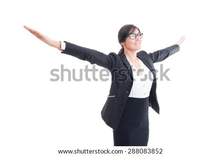 Successful business woman with arms wide open, outstretched or outspread - stock photo