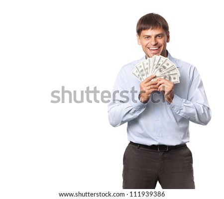Successful businessman. Dollar in the hand. - stock photo