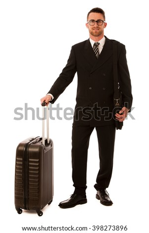 Successful businessman in formal suit and briefcase going on business trip isolated over white. - stock photo