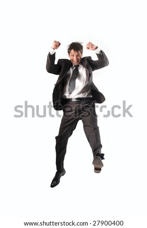 successful businessman isolated on a white background - stock photo