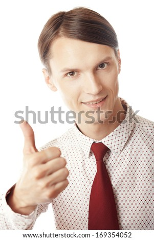 Successful businessman making thumbing up on a white background - stock photo