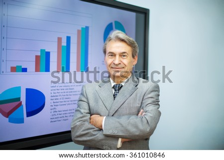 successful businessman on the background of the screen with busi