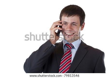 Successful businessman phones with business associate. Isolated on white background. - stock photo