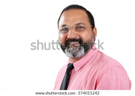 Successful businessman. Portrait of confident aged man in formal wear looking at camera and smiling on white background - stock photo