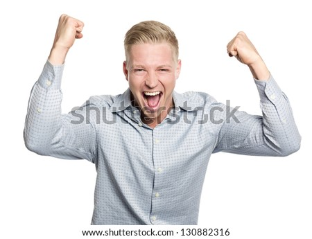 Successful businessman shouting with arms up suggesting his fulfillment, isolated on white background. - stock photo