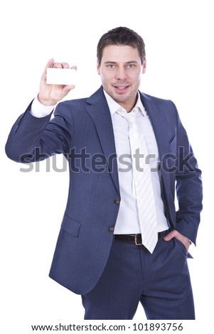 Successful businessman showing empty blank  over white background