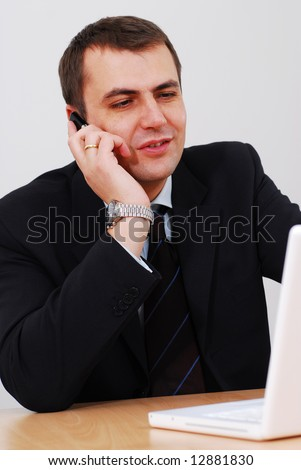 Successful businessman talking on the phone