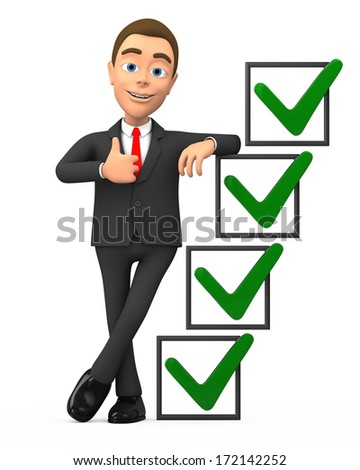 successful businessman with checkmarks - stock photo