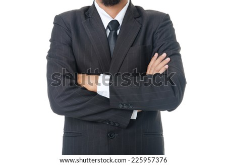 Successful Businessman with Crossed Hands Isolated on the White Background
