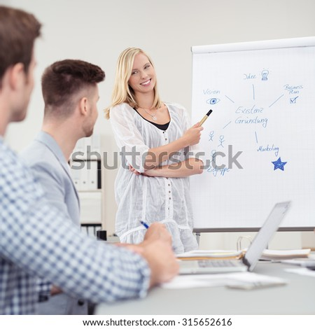 Successful businesswoman giving a presentation to a group of colleagues or her team smiling as she stands in front of a flip chart answering questions - stock photo