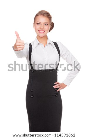 successful businesswoman showing thumbs up and smiling. isolated on white background