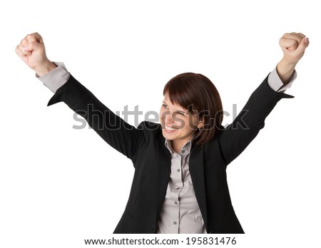 Successful businesswoman with arms up - isolated over a white background