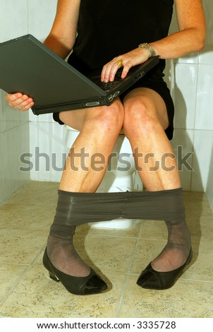 Successful businesswoman with no free time - stock photo