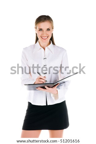 Successful businesswomen with the folder. Studio shot - stock photo