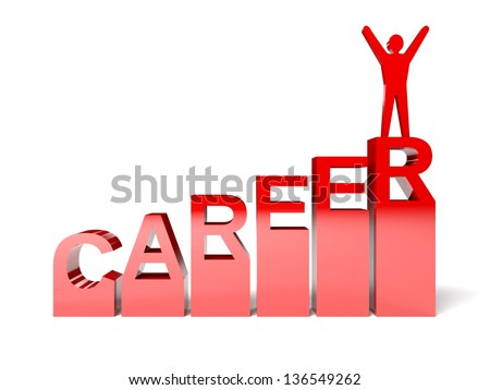 Successful career. Winner on the top. Concept 3D illustration. - stock photo