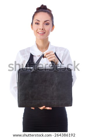 Successful Caucasian Businesswoman or Teacher  With Briefcase. This photo has been produced with these professionals : make-up artist, hair dresser and stylist. A professional retoucher gave it the - stock photo