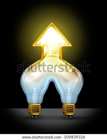 Successful creative partnership and corporate merger of ideas as two light bulbs coming together to form a unified business force as a glowing light in the shape of an arrow going up. - stock photo