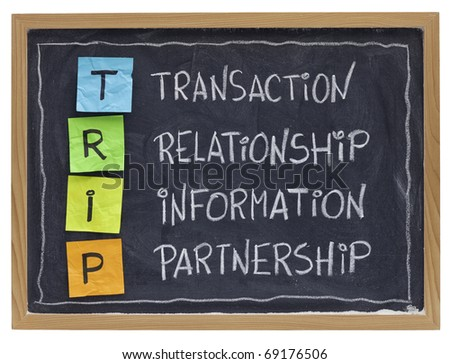 successful customer supplier co-operation -TRIP (transaction, relationship, information, partnership) - business acronym explained with color sticky notes and white chalk handwriting on blackboard
