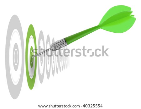 successful dart reaching the green goal, symbol a success or a business challenge, the image is isolated on a white background - illustration - stock photo