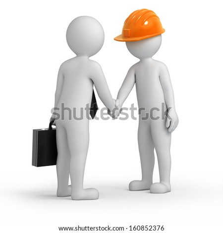 successful deal, builder and businessman shaking hands, isolated on white with a work path - stock photo
