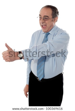 Successful entrepreneur showing thumbs-up isolated on white - stock photo